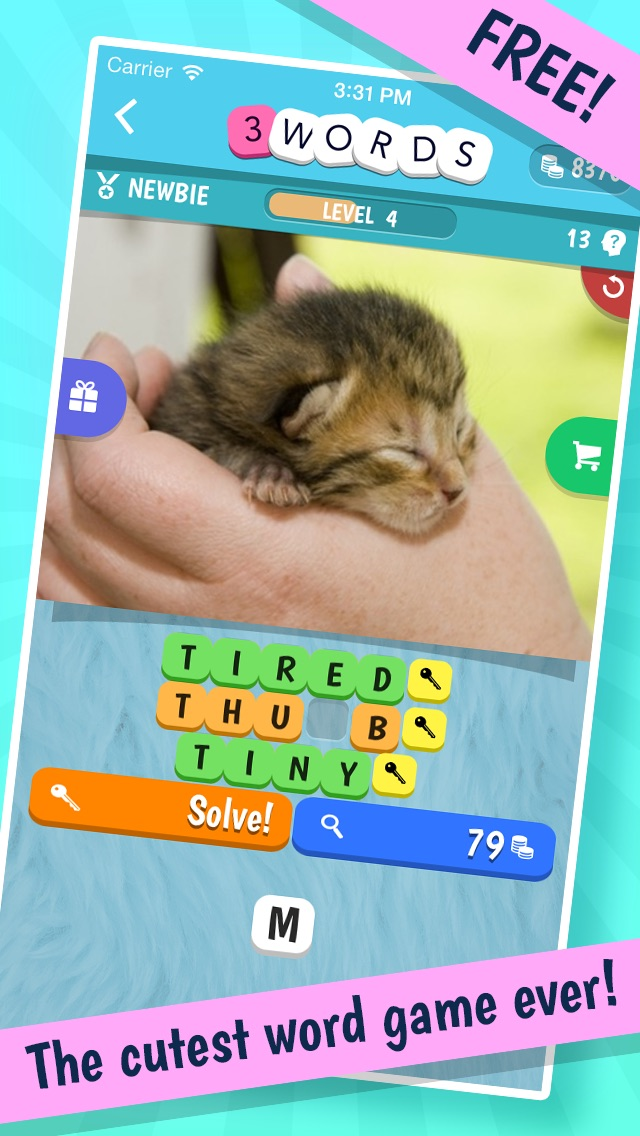 3 Words: Cute Animals – a word game based on cuddly animal pictures cheat codes