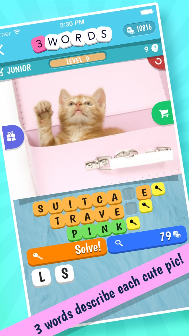 Hack tool for 3 Words: Cute Animals – a word game based on cuddly animal pictures