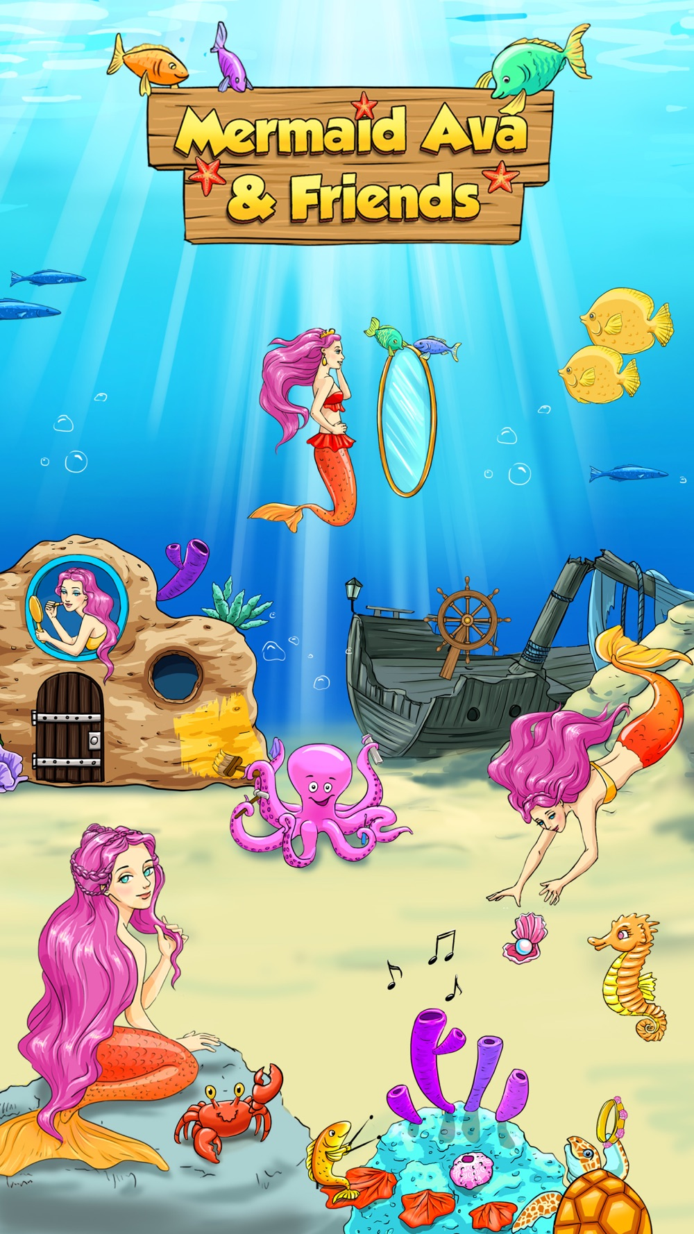 Mermaid Ava and Friends – Ocean Princess Hair Care, Make Up Salon, Dress Up and Underwater Adventures cheat codes