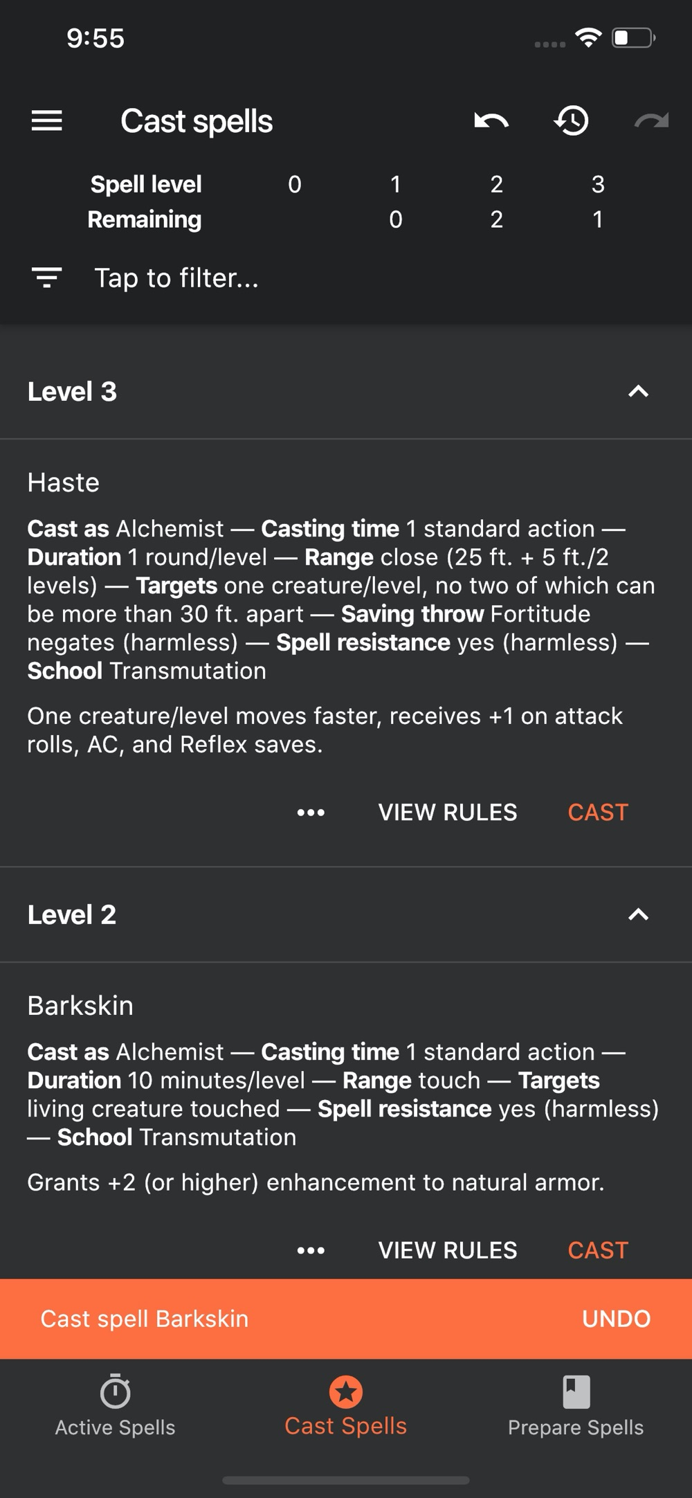 Spell Tracker for Pathfinder cheat codes