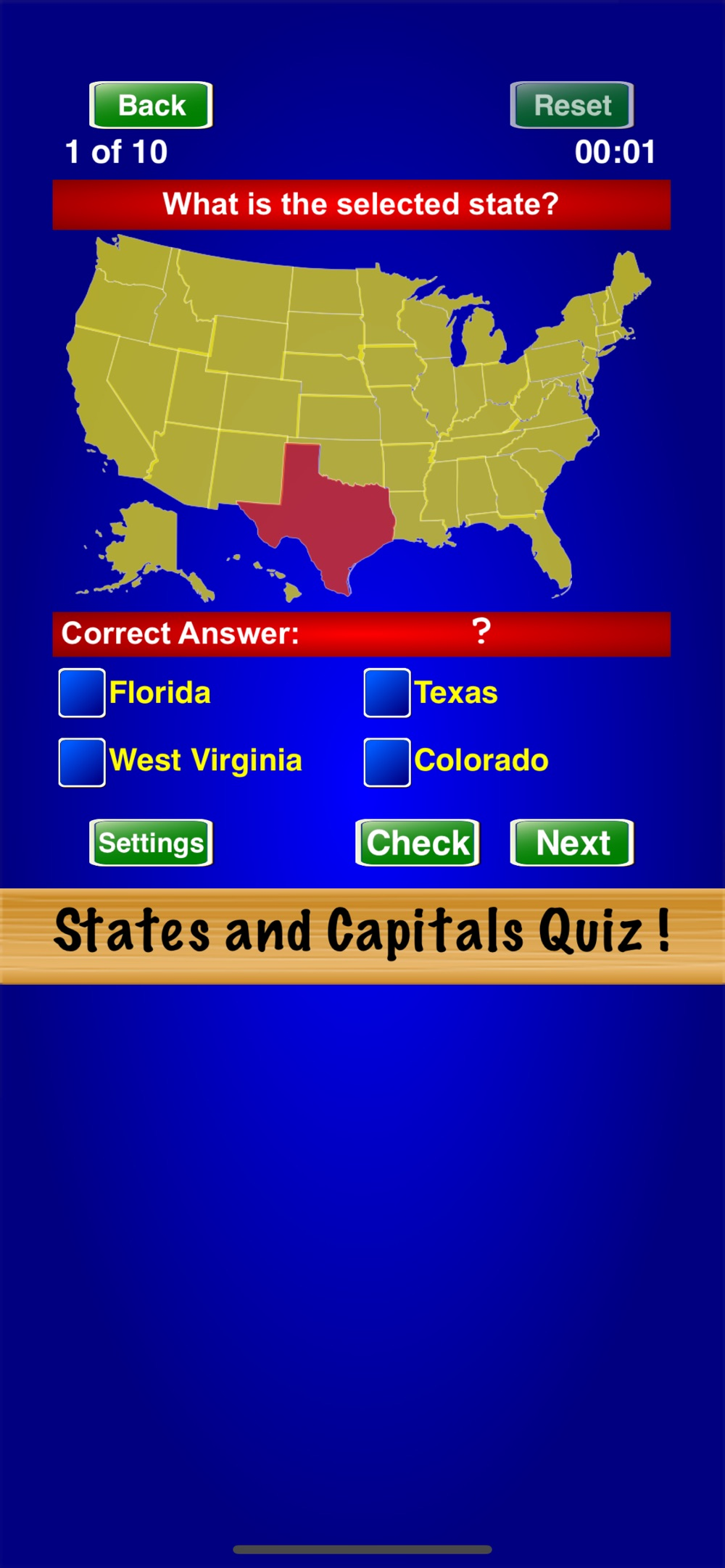 Hack tool for States and Capitals Quiz !